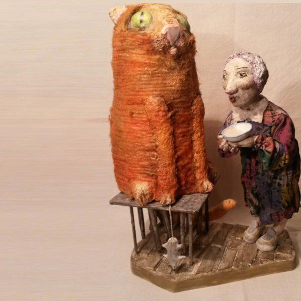 Авторская кукла из папье-маше и полимерной глины